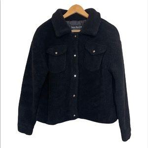 Jason Maxwell Black Teddy Sherpa Cropped Jacket